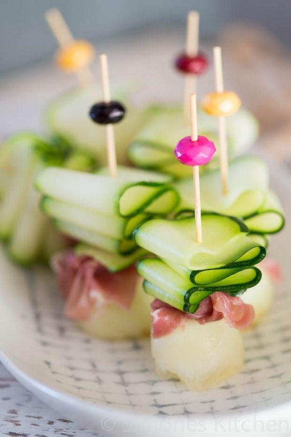 Ham en courgette linten met meloen