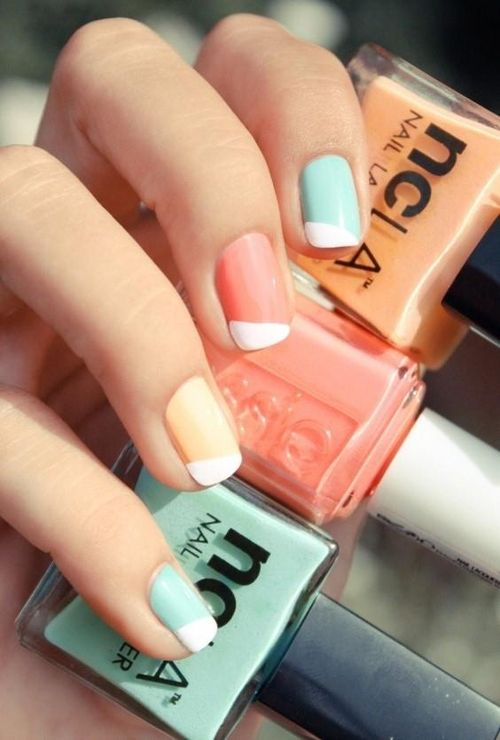 Must Try: A pastel mismatched reverse French manicure!