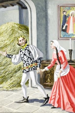 6.- At next day the king saw the gold and stayed astonished. He took the miller's daughter to another room with more straw