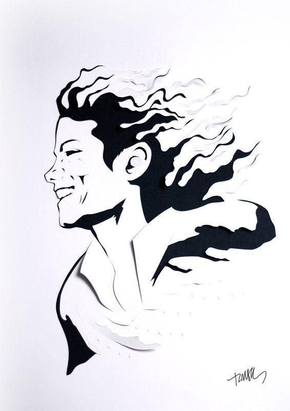 Michael Jackson paper portrait