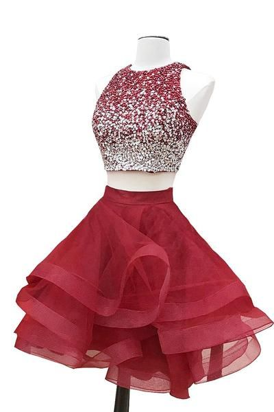 Burgundy two pieces sequin short prom dress, burgundy homecoming dress The long prom dresses are fully lined, 4 bones in the bodice, chest pad in the bust, lace up back or zipper back are all available, total 126 colors are available.This dress could be custom made, there are no extra cost to do custom size and color.Description1, Material: sequin, tulle, elastic satin .2, Color: picture color or other colors, there are 126 colors are available, please contact us for more colors, please…