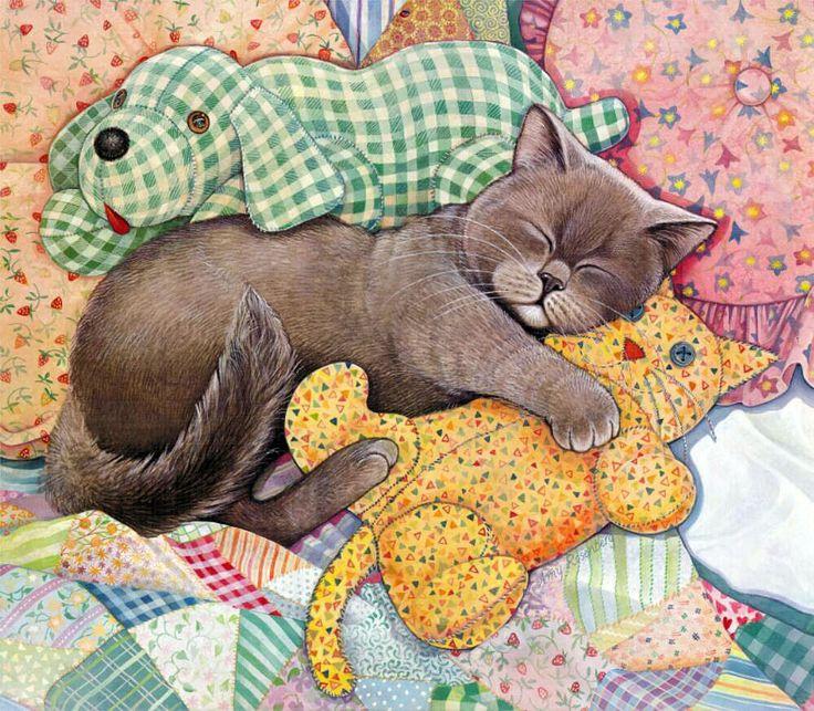 Спящий котенок картинки нарисованные