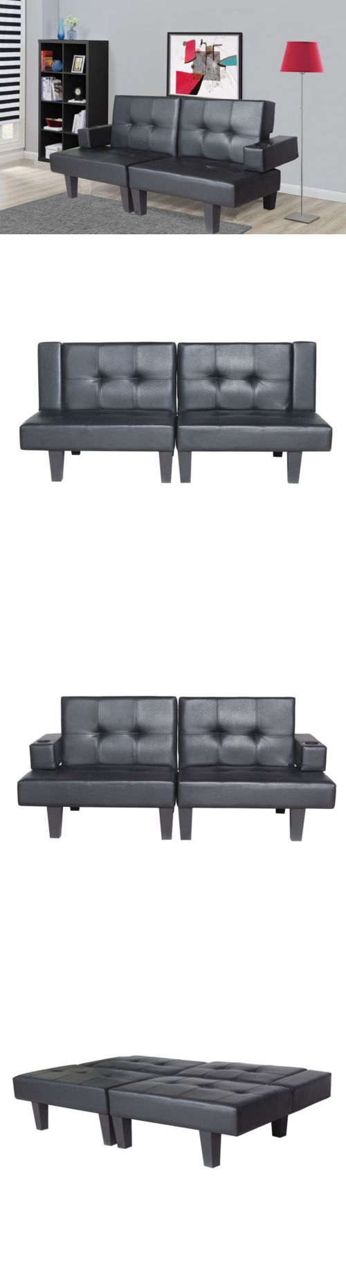 Futons Frames and Covers 131579: Black Leather Fold Down Futon Sofa Bed Couch Sleeper Furniture Easy Adjustable -> BUY IT NOW ONLY: $175.99 on eBay!