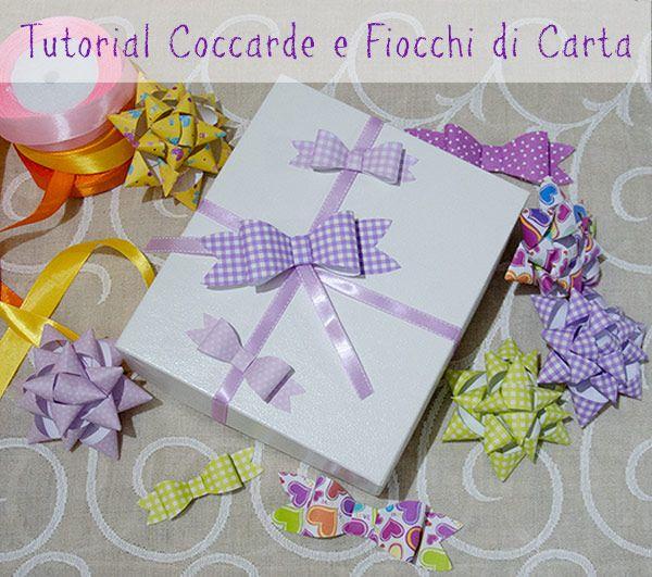Tutorial molto facile per realizzare da soli delle #coccarde e dei #fiocchi di #carta per rendere originali i vostri pacchi regalo. Cartamodello gratuito!