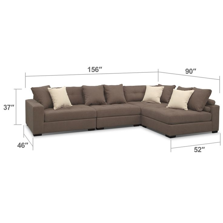 Handcrafted Design. Built for durability and versatility, the Venti Mocha sectional by Kroehler™ is an oversized sectional that will round out your living room with looks and longevity. It's upholstered, tailored and handcrafted by skilled craftsmen and is swathed in warm, versatile cloth that feels luxurious against your skin. Extra details include tufting along all the attached seat and back cushions, each section comes with two back pillows and the wood block legs are almost invisible....
