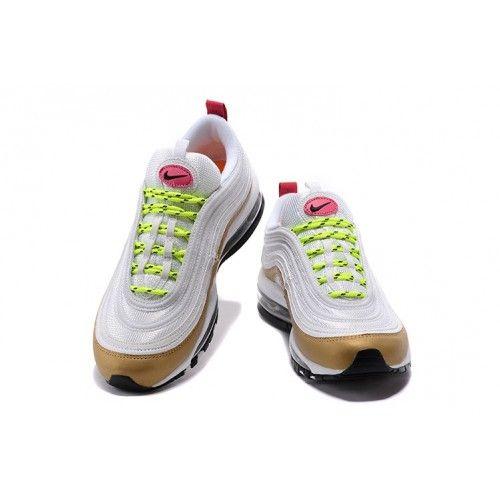 wholesale dealer 69a08 9bd02 Dam Nike Air Max 97 Shockproof Skor Vit/Metallic Gold/Fluorescent Gron/Rosa