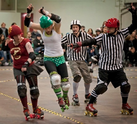 """Do you know the real secret to having a winning Roller Derby team? Nope, not skating skills. Nope, not 50 pull-ups a day. Nope, not all the best transfers from around the world. It's refs and NSOs. Dedicated refs at your training sessions and NSOs at your scrimmage sessions.    """"The best derby is precise, disciplined, skilled, legal derby. And you only get that with the help of the zebras in the middle."""""""