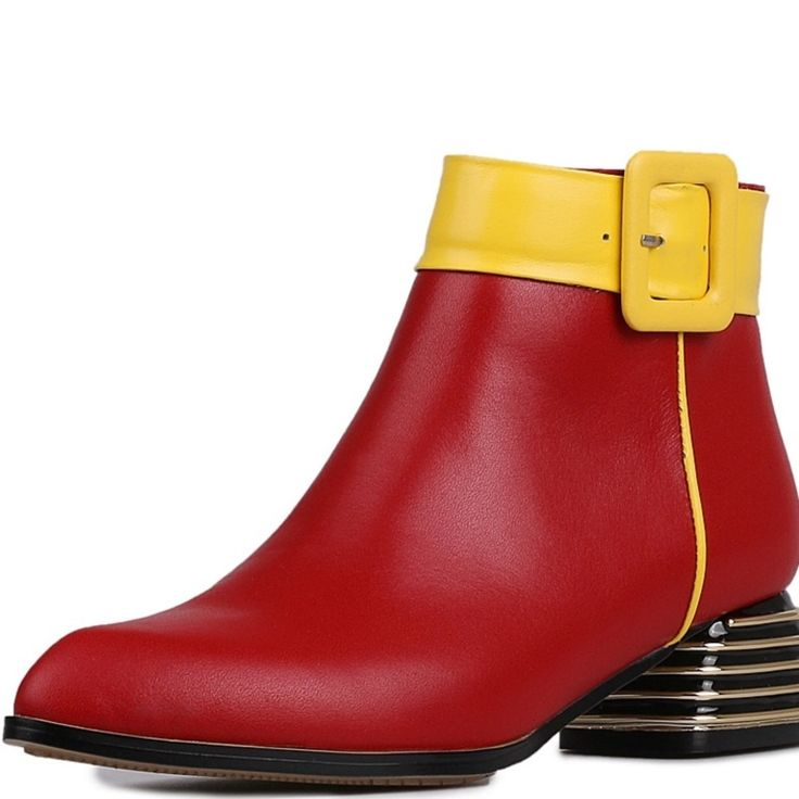 62.54$  Buy now - http://alij7k.worldwells.pw/go.php?t=32714266059 - med heels 4 cm sapatos femininos ankle boots Grain Leather Ladies shoes woman Beautiful Adhesive Pointed Toe woman wedding shoes 62.54$