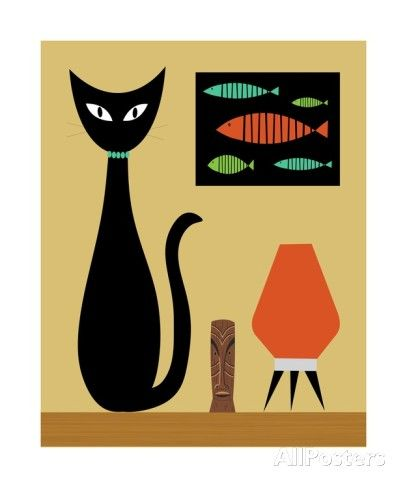 Mid Century Modern Cat on Tabletop I Photographic Print by Donna Mibus at AllPosters.com