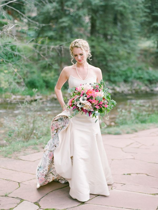 Tara LaTour wedding gown with floral printed liner.  Pic by Connie Whitlock.