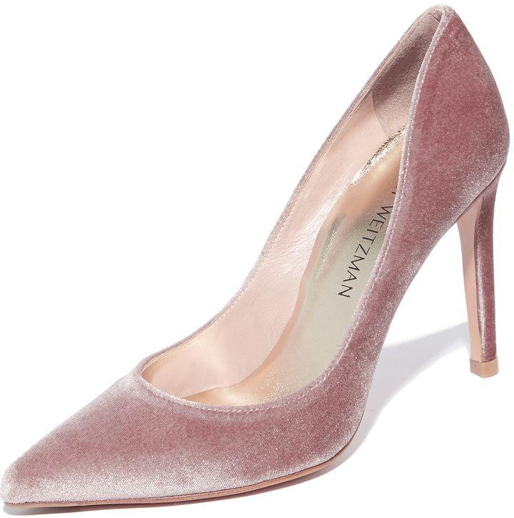 Velvet millennial pink pumps