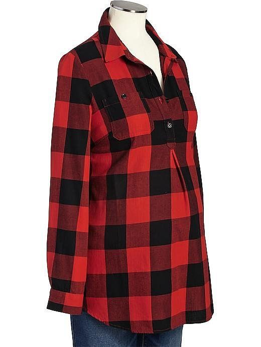 Old Navy Maternity Buffalo Plaid Flannel Shirt ($28) | 50 Great Additions to Your Maternity Wardrobe — All Under $50! | POPSUGAR Moms