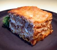 Barilla No-Boil Lasagna! Use turkey-sausage for best results.