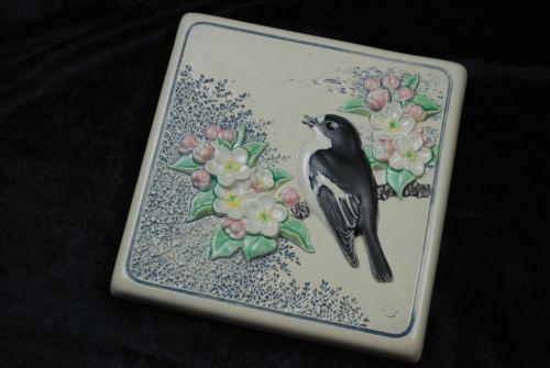 JIE-Vintage-Wall-Plaque-295-spring-var-bird-theme-Wall-Tile-Gantofta-Sweden