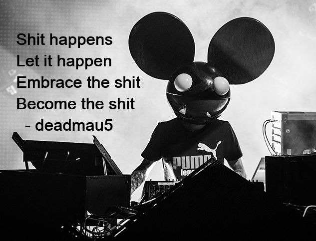 Love this quote from Deadmau5 - Shit happens, let it happen, embrace the shit, BECOME THE SHIT