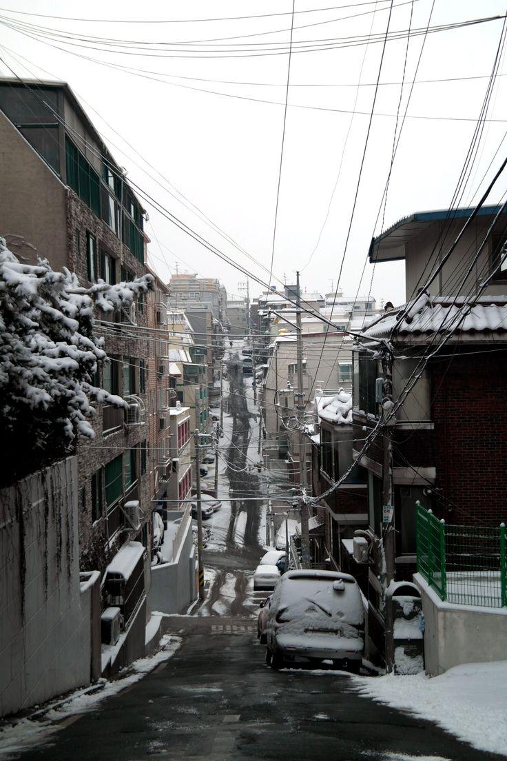 A snowy neighborhood Hwagok-dong, seoul, south KOREA. JAN 2017