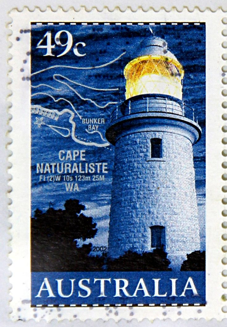 Australia. LIGHTHOUSES & MAPS. CAPE NATURALISTE, WEST AUSTRALIA. Scott 2052, A614, Issued 2002 Mar 12, Perf. 14 1/2 x 14, 49c.