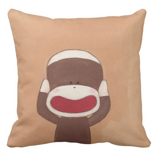 聞かざる。。Three Wise Sock Monkeys(Hear No Evil)Throw Pillow #zazzle #pillow