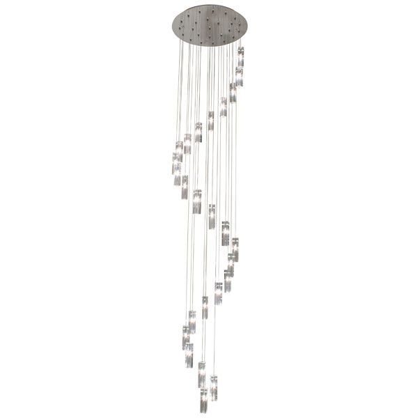 Eurolux P378 - Round Spiral Crome Pendant with Adjustable Cable Suspension