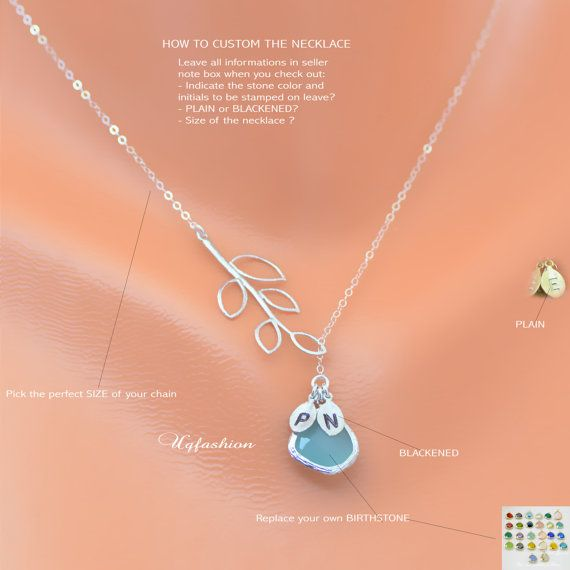 Personalized birthstone lariat necklace Sapphire by Uqfashion