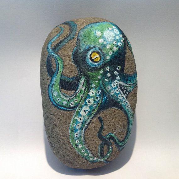 hand painted octopus beach stone