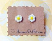 "Handmade ""Darling Daisy"" Dainty White Daisy Earrings"