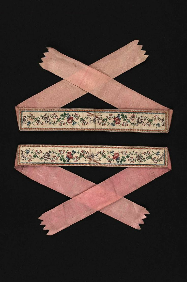 pink embroidered garters from 18th century