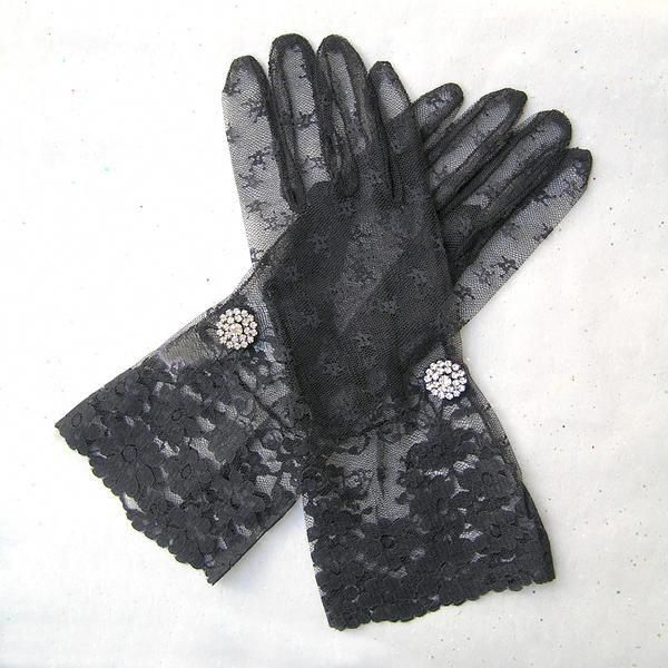 Long Black Burlesque Lace Gloves