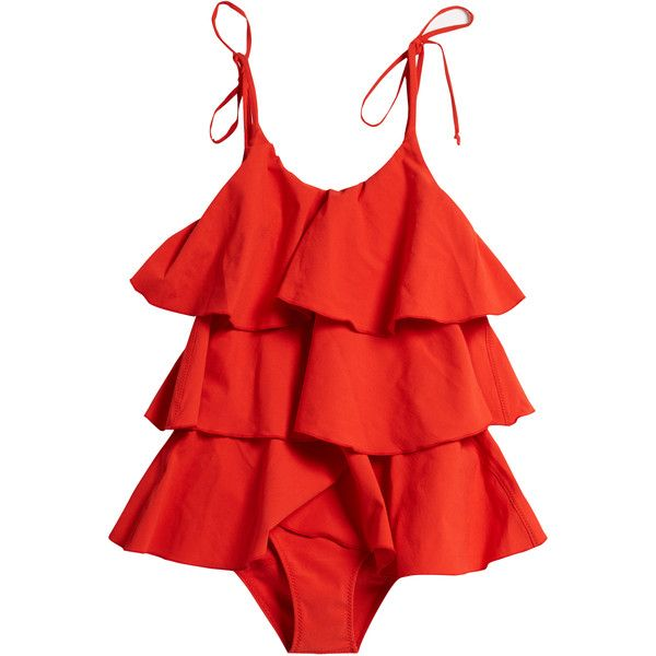 Lisa Marie Fernandez Imaan ruffled swimsuit found on Polyvore featuring swimwear, one-piece swimsuits, flounce bathing suits, swimsuit swimwear, ruffle one-piece swimsuits, anchor bathing suit and red bathing suit