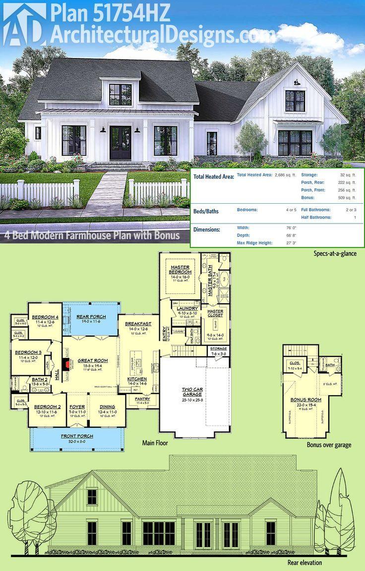 Plan 51754hz Modern Farmhouse Plan With Bonus Room