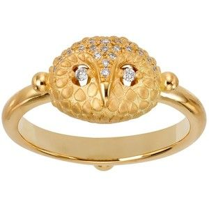 Temple St. Clair 18K Yellow Gold Pave Diamond Mini Owl Ring