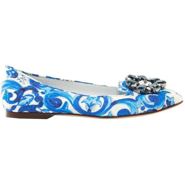 Pre-owned Dolce & Gabbana Cloth Ballet Flats (440 CAD) ❤ liked on Polyvore featuring shoes, flats, blue, women shoes ballet flats, blue canvas shoes, floral flats, ballet pumps, ballerina shoes and blue flats