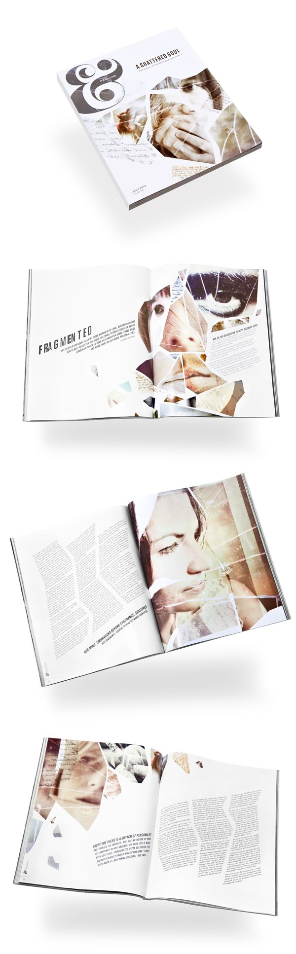 "Interesting layout. I like the theme ""fragmented"" and how they executed it in both the photos and the text. Magazine Feature 