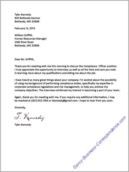 Thank You Letter After The Job Interview Businessletter
