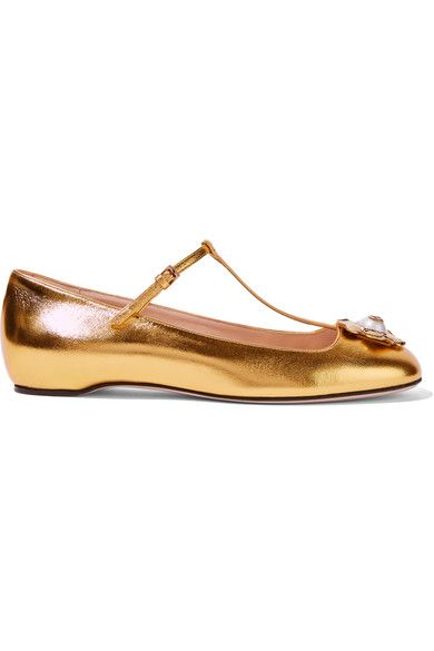Gucci - Embellished Metallic Leather Ballet Flats - Gold - IT38.5