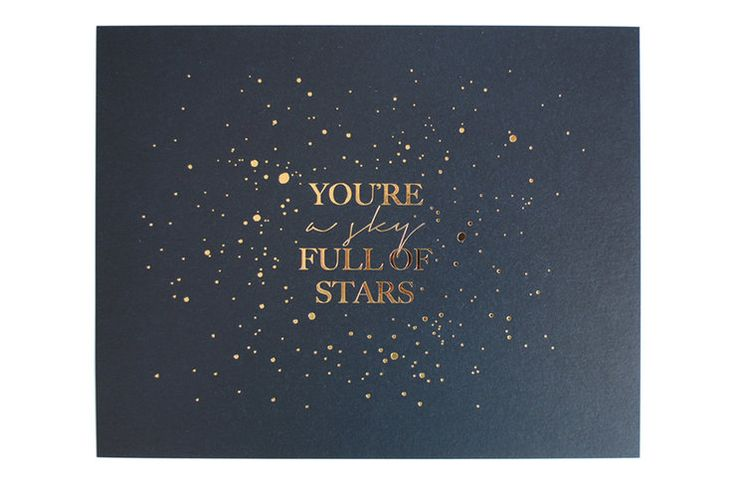 Gold Foil Print   You're A Sky Full of Stars  {midnight blue} by Seven Swans Stationery for sale on http://hellopretty.co.za