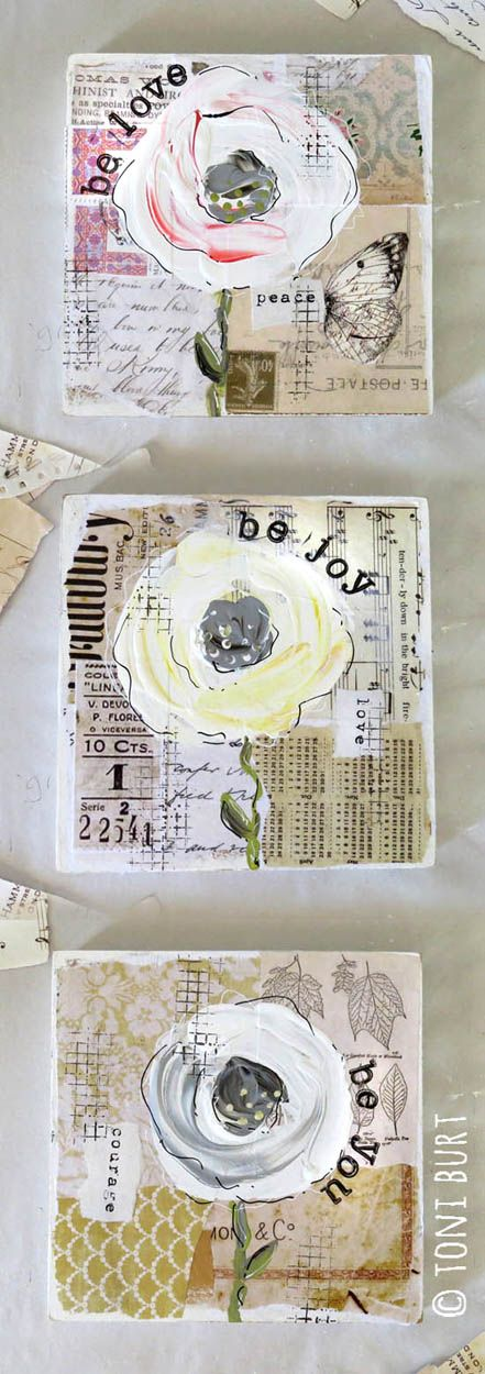 Gorgeous little shabby styled vintage 'trio of flowers' featuring mixed media art, vintage papers, old sheet music and ephemera. Old fashioned roses and typography - be love - be joy - be you