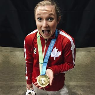 #TeamCanada's trampoline gold medallist @rosiemaclennan sporting her shiny new bling.  Check out Olympic.ca for more photos from Day 9!  #NowOrNever #TO2015 // Rosie MacLennan avec sa médaille d'or des Jeux panam. Voyez d'autres photos du jour 9 au Olympique.ca. #MaintenantOuJamais