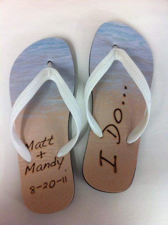 Wedding Personalized Flip Flop Sandals. $32.95, via etsy . Perfect for a beach wedding