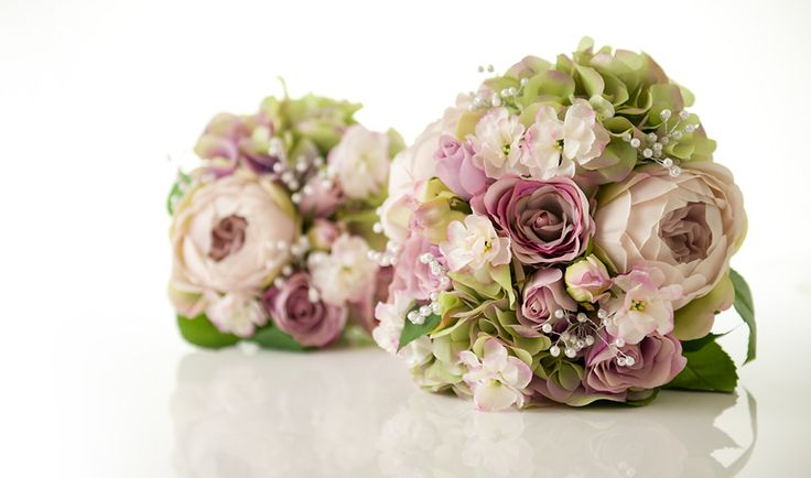 Wedding Bouquet Available in Two Sizes, and Shown with Optional White & Silver Pearl Sprays