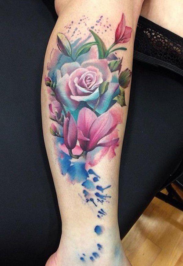 Watercolor magnolia and rose tobillo izquierdo