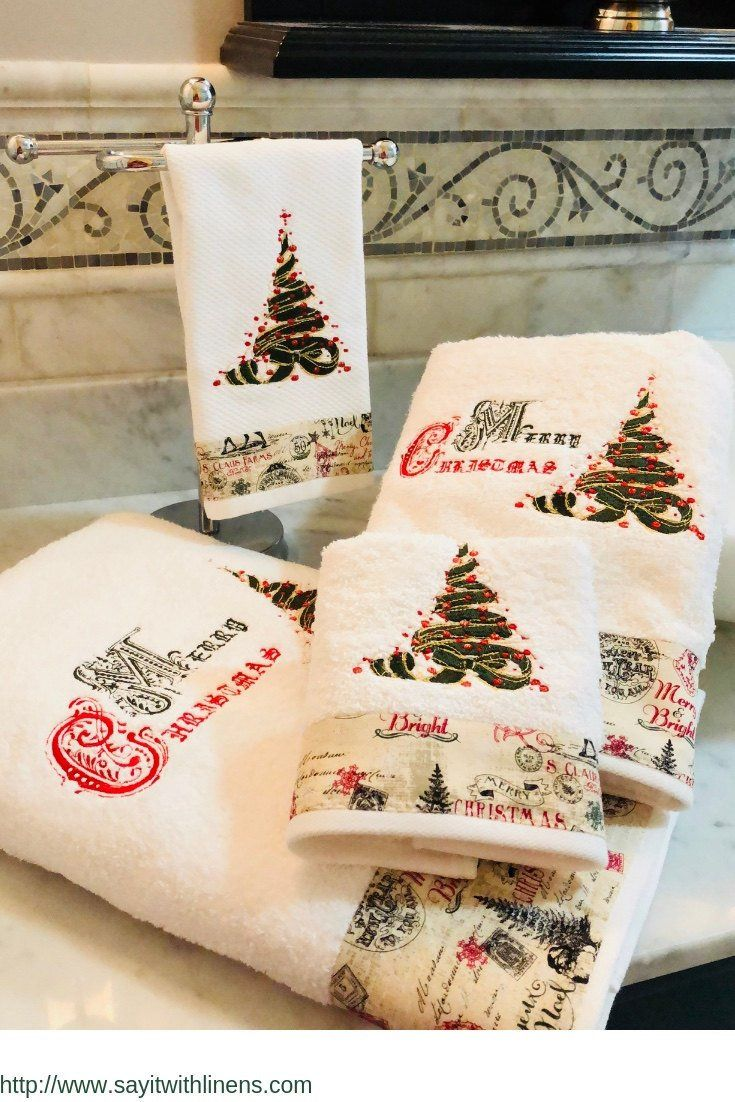Merry Christmas Towel Set Luxurious Premium Soft And Absorbent White Towel Set Made Of 100 Cotton This Christmas Towels Fancy Towels Christmas Bath Towels