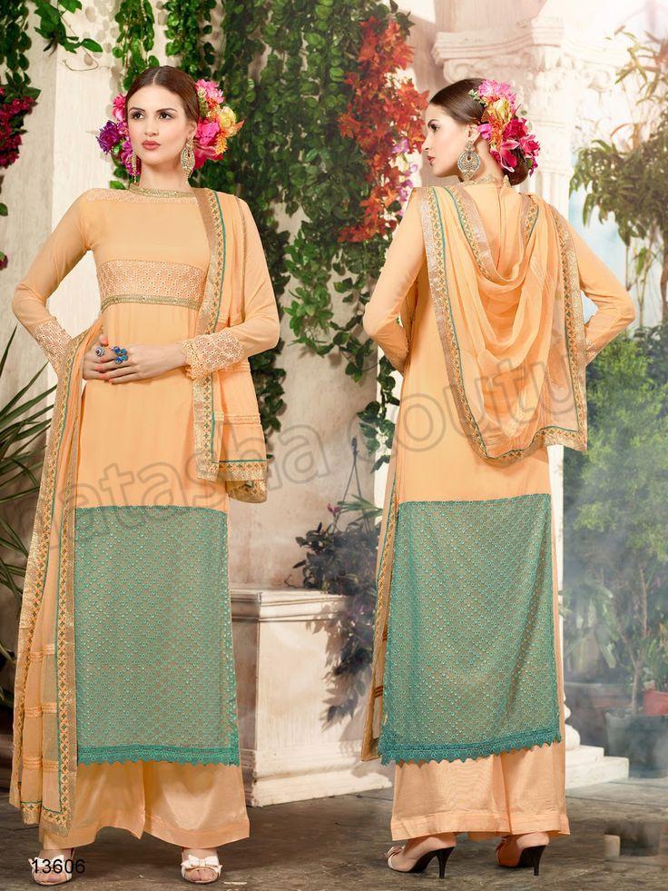 #Designer Stright Suits#Pakistani Suit#Indian Wear#Peach & Green #Desi Fashion #Natasha Couture#Indian Ethnic Wear# Salwar Kameez#Indian Suit#Pakastani Suits# Palazoo