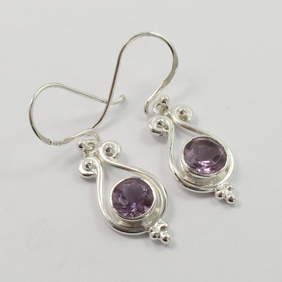 Solid 925 Sterling Silver Amethyst Gemstone Leaf Design Earring