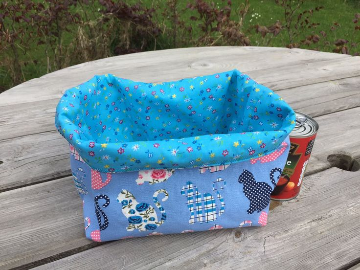 Cat Fabric storage basket , storage basket, cat fabric by Bellasbananas on Etsy