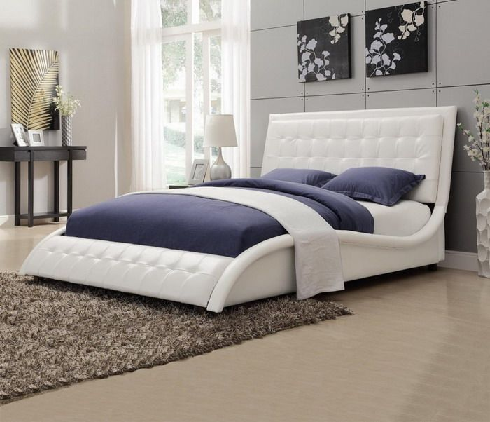 Coaster Tully Modern Queen Bed White Leather Like Upholstery