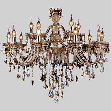 Chandelier+Crystal++Cognac+Color+Luxury+Modern+2+Tiers+Living+15+Lights+–+GBP+£+296.91