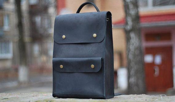 Genuine leather backpack. Black backpack for men. Model P002. 100% Hand-made.
