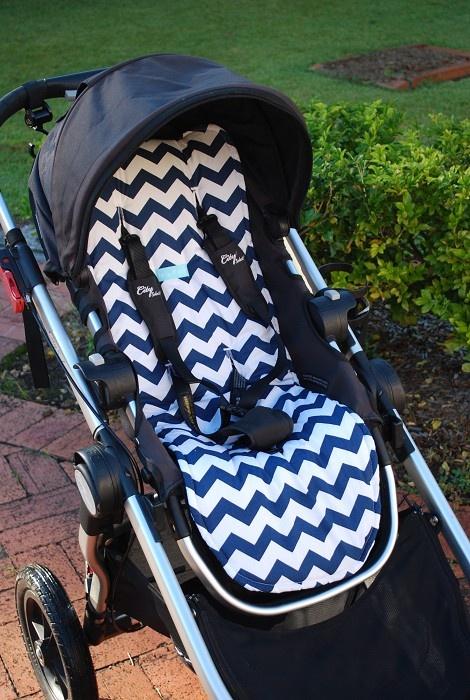 Pram Liner for Baby Jogger City Select- Stylish Navy Chevron & Navy/White Stripe - by bellaandmoo on madeit