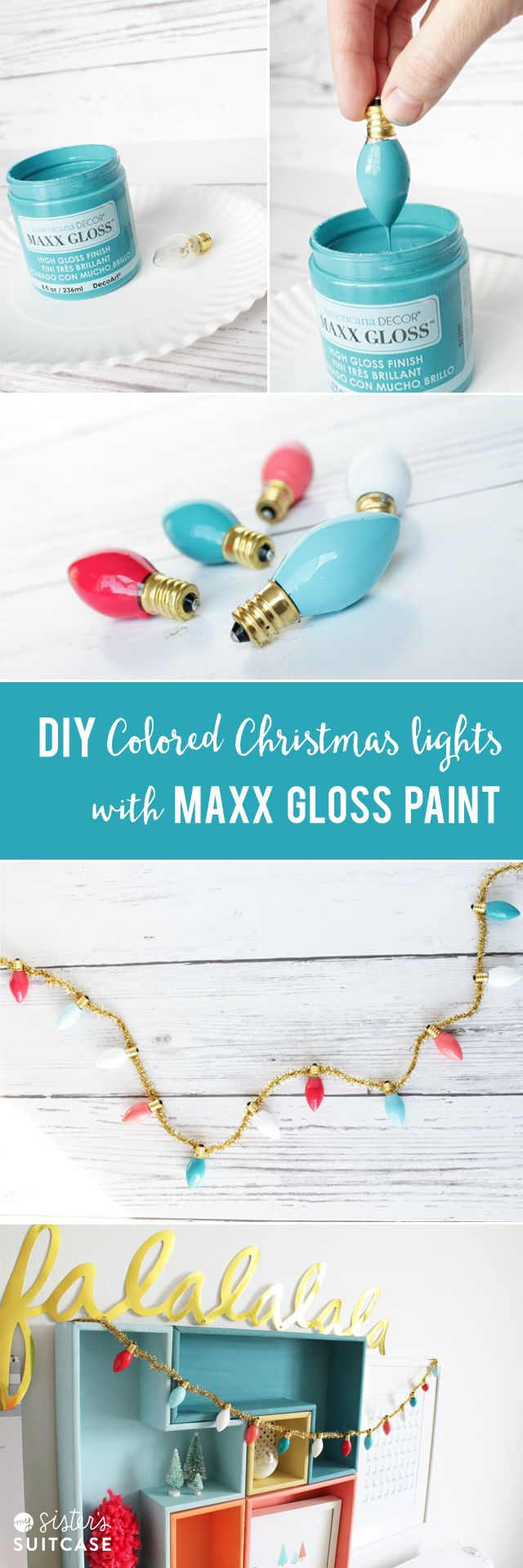 DIY Custom Vintage Christmas Lights tutorial via sisterssuitcaseblog.com #maxxgloss #decoart #decoartprojects @decoart